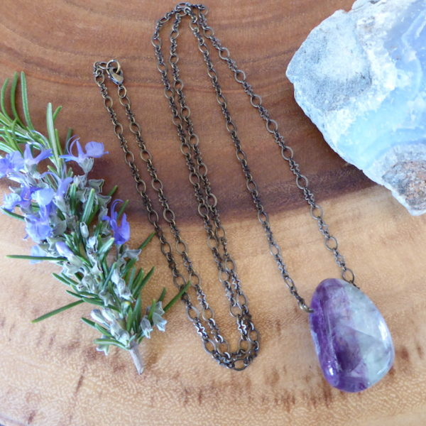 Fluorite Wonder Necklace -Purple