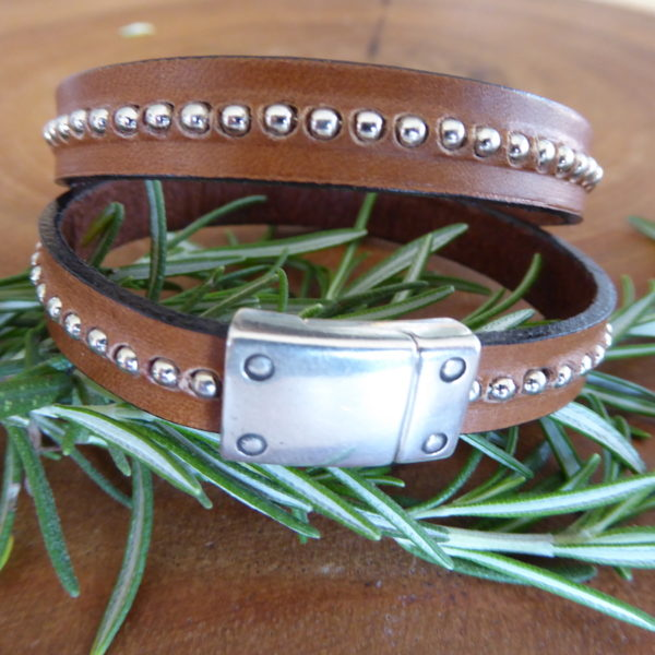 Silver Ball Tan Leather Bracelet