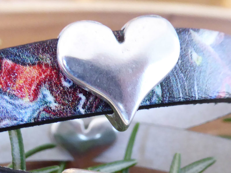AddSilver Heart Charm to one of our leather bracelets: Rainbow Marble Swirl Leather Bracelet Metallic Pearl Bronze Leather Bracelet Order each separately.